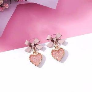 2/$20 Cute pink bow heart handmade earrings
